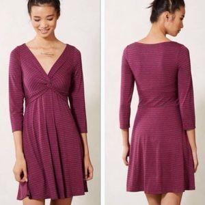 Anthropologie Lilka Twist Front Striped Dress
